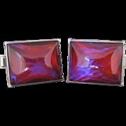 Vintage Sterling Silver Dragons Breath Jelly Opal Cufflinks