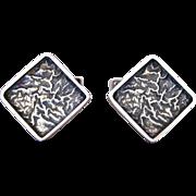 Vintage Silver Mid Century Modernist Finnish Square Textured Cufflinks By Jose