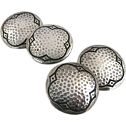 Vintage Art Deco Hammered Sterling Silver Double Sided Round Cufflinks