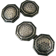 Vintage Art Deco Hammered Sterling Silver Double Sided Octagonal Cufflinks