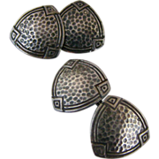 Vintage Art Deco Hammered Sterling Silver Double Sided Triangular Cufflinks