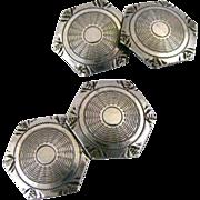 Vintage Sterling Silver Art Deco Double Sided Hexagonal Cufflinks