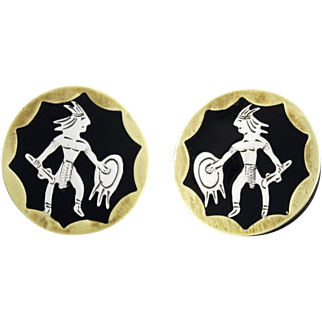 Vintage Mexican Sterling Silver And Brass Aztec Warrior Cufflinks