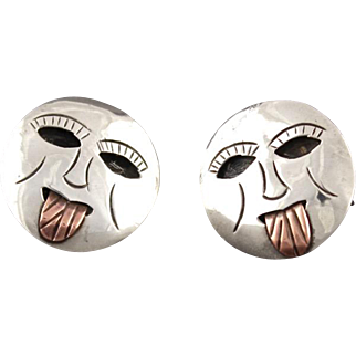 Vintage Mexican Sterling Silver And Copper Shadow Box Style Face Cufflinks