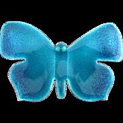 Vintage Hogan Bolas Teal Blue Enamel Butterfly Pin