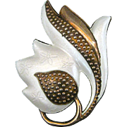 Vintage Sterling And Enamel Tulip Pin By J. Tostrup Of Norway.