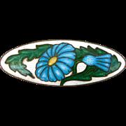 Vintage Cloisonne And Guilloche Enamel Blue Daisy Bar Pin