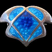 Vintage Art Nouveau Silver and Blue Enamel Pin