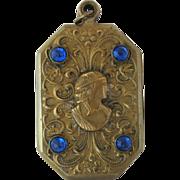 Vintage Art Nouveau Brass and Glass Cameo Slide Locket