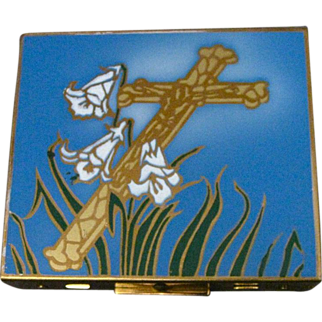 Vintage Rosary Case Enameled With A Crucifix And Lilies