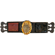 Antique Scottish Silver, Citrine, Jasper and Blood Stone Bar Pin