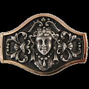 Vintage Art Nouveau Repousse Lady Silver And Copper Pin