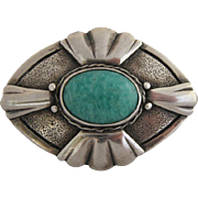 Vintage Arts And Crafts Handmade Silver and Czech Glass Pin