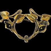 Vintage Art Nouveau Handmade Brass Calla Lily Pin