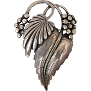 Vintage Art Moderne Sterling Silver Leaves and Berries Pin