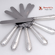 Tiffany & Co Marquise Set of 6 Regular Knives Sterling Silver 1902