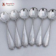 Tiffany And Co Marquise Set of 6 Gumbo Soup Spoons Sterling Silver 1902