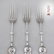 Medallion Dessert Forks 3 Schulz and Fischer Sterling 1895 SAS