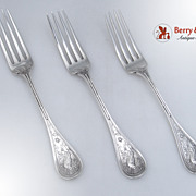 Wendt Bird 3 Dinner Forks Sterling Silver 1872