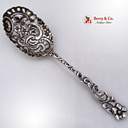 Open Work Ornate Serving Spoon FloralSterling Silver Duhme 1890