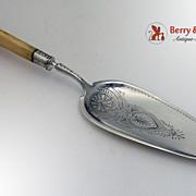 Large Ornate Fish Serving Knife Sterling Silver 1880