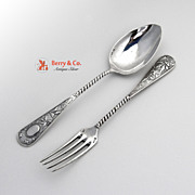 Ornate Dessert Spoon and Fork German 800 Silver 1890