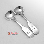 Coin Silver Pair of Master Salt Spoons Gale Wood and Hughes 1833-1844