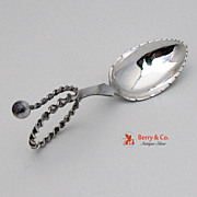 Scandinavian 830 Silver Tea Caddy Spoon Curved Handle 1900
