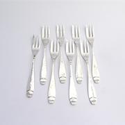 Arts and Crafts Cocktail Forks Hammered Sterling Silver