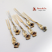 Set Of 6 Lily Cocktail Forks Sterling Silver TOW Sterling Creations