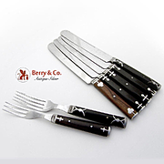 Antique Misc Cutlery Set Knives Forks Polished Steel Wood 7 Pieces 1910
