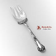 Poppy Large Cold Meat Serving Fork Sterling Silver Gorham 1902
