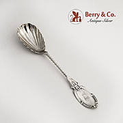Sugar Shell Spoon Coin Silver Twist Handle 1870