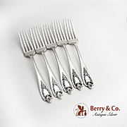 Old Colony Set of 5 Dinner Forks Silverplate Rogers 1911