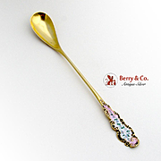 Ornate Long Handle Olive Spoon Enamel Gold Finish Sterling Silver Blackinton 1900