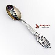 St Louis Souvenir Spoon Sterling Silver Hand Painted Bowl Davis and Galt 1900