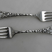 Chrysanthemum 2 Regular Forks Durgin Sterling Silver 1893