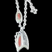 Hopi Roy Talahetewa silver and coral kokapeli necklace