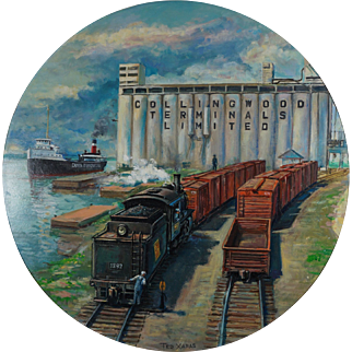 Original Painting by Famous Railroad Artist Ted Xaras - Collingwood Ontario Canada Scene with Docks and Switcher