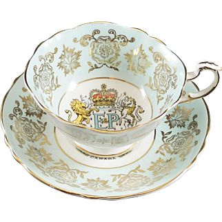 Paragon Fine Bone China up & Saucer to Commemorate Thr Royal Visit of Queen Elizabeth in 1959 to Open the Seaway