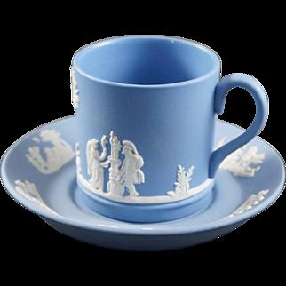 WEDGWOOD Pale Blue Jasperware Demitasse Cup and Saucer