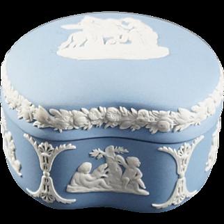 WEDGWOOD Pale Blue Jasperware Bean  Bon Bon