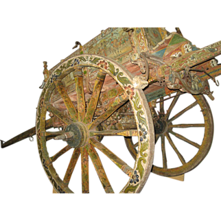 19th century Sicilian Cart Hand Paint Shop Forged