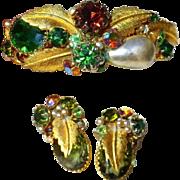 Vintage DeMario Rhinestone Bracelet & Earrings, Faux Baroque Pearls