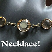 Vintage 80's Crystal Necklace Bezel Set Equal Sided