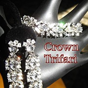 Vintage Rhinestone Crown Trifari  Demi, Drop Earrings & Bracelet