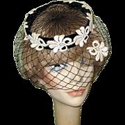 Vintage 40's 50's Black Velvet Hat, Netting & Lace