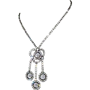Crystal Festoon Necklace Japanned & Rhinestone Victorian Revival, 40's