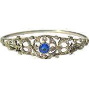 Sterling Bangle Bracelet, Vintage Art Deco, Sapphire Paste