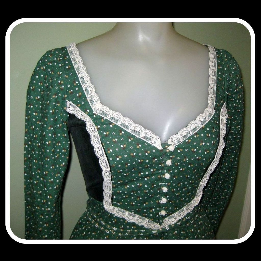 Gunne Sax Dress, Maxi Peasant Boho Corset,  60's Vintage
